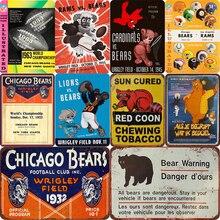 Chicago Bears and Coon Metal pintura signos Vintage Poster Bar Pub placa decorativa decoración para el hogar cerveza placa publicitaria