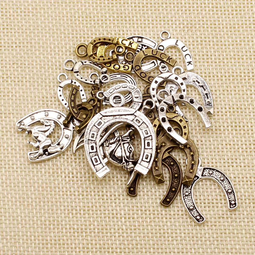 Hot Sale 20 Pieces Animal Good Luck Horseshoe Horse Shoes Random Mixed No Designated Styles Charms Pendant Pendants For Crafts