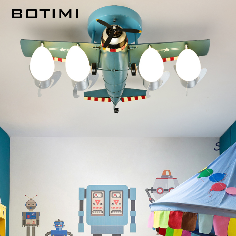 BOTIMI Metal Airplane Mode LED Ceiling Lights With Glass Lampshade For Boys' Bedroom Green Blue Cartoon Kids Ceiling Lamp