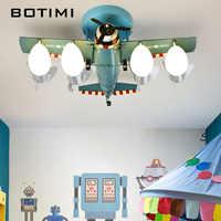 BOTIMI Metall Flugzeug Modus LED Decke Lichter Mit Glas Lampenschirm Für Jungen Schlafzimmer Grün Blau Cartoon Kinder Decke Lampe