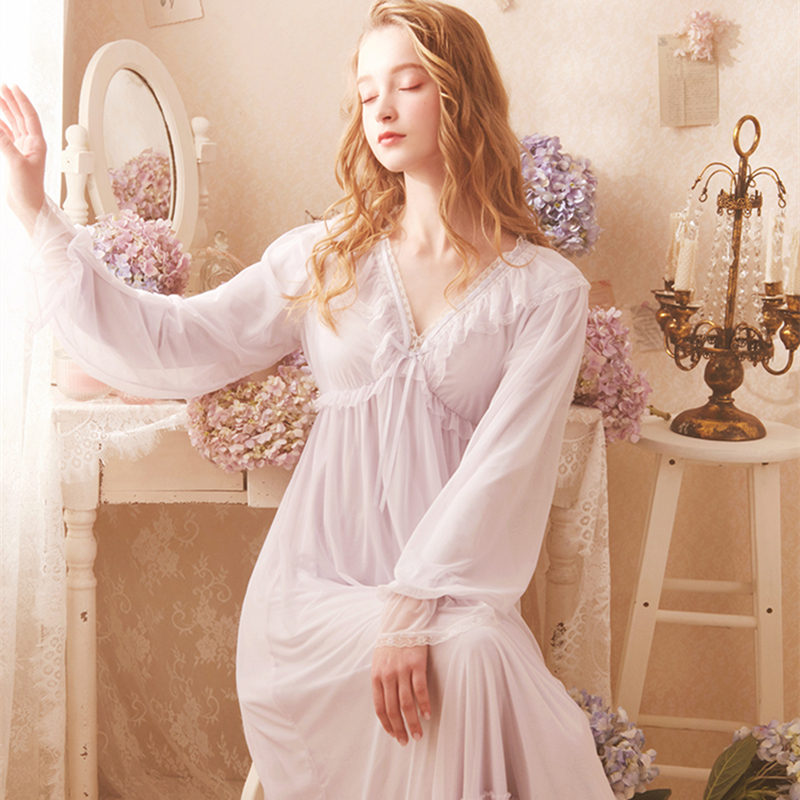 Elegant   Nightgown   Sleepwear Lace Night Sleeping Dress Purple White Summer Spring Lace   Sleepshirt   Dress For Women