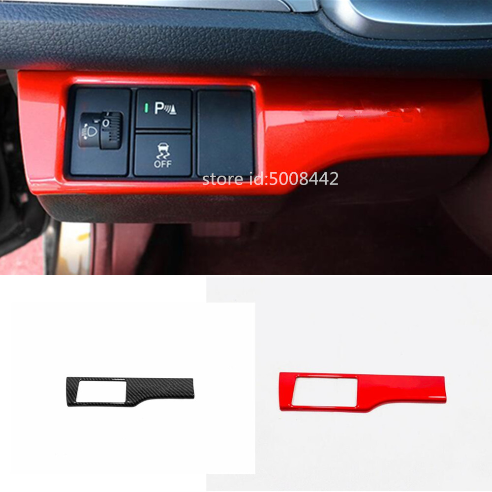 2PCS ABS Red Interior Glove Box Switch Cover Trim For Honda Civic 2016-2019
