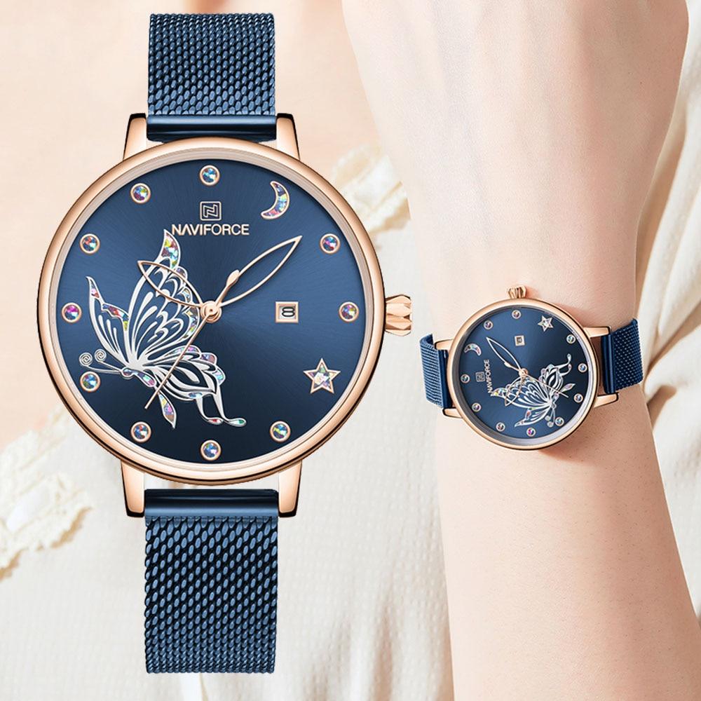 NAVIFORCE Womens Watches Top Brand Luxury Waterproof Watch Fashion Ladies Stainless Steel Ultra-Thin Casual Quartz Wrist Watch