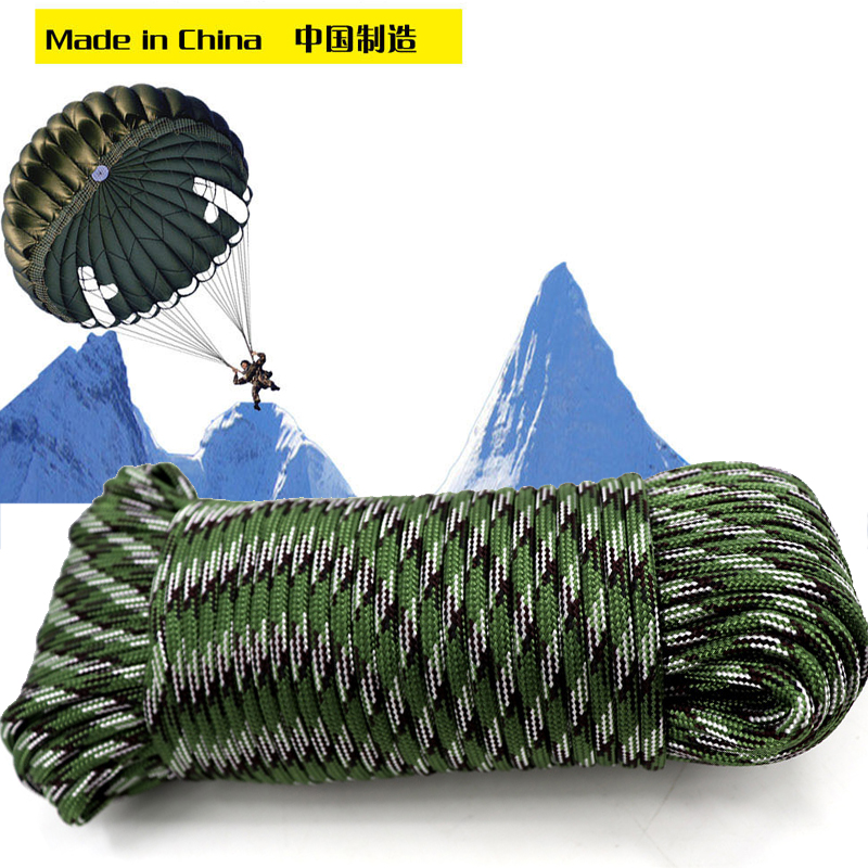 100M Outdoor Rock Climbing Rope 4mm Diameter High Strength Survival Paracord Safety Rope Cord String Hiking Accessory