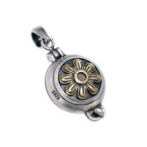 Image 5 - Echt 925 Sterling Silber Sonne Blume Medaillon Anhänger Vintage Öffnende Shurangama Mantra Anhänger Für Frauen 2018 Neuheiten