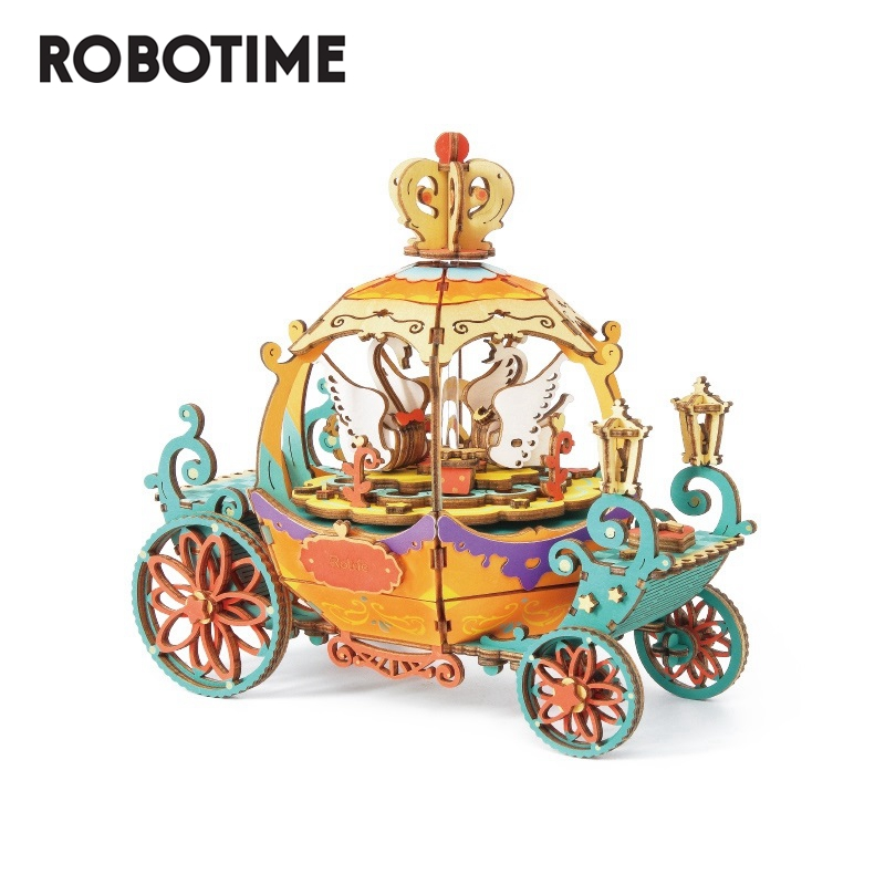 Robotime DIY Pumpkin Cart 3D Puzzle Game Assembly Moveable Music Box Toy Gift for Children