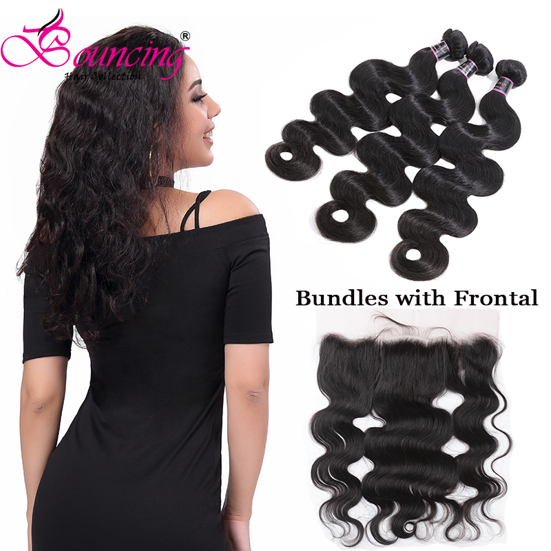Bouncing Hair Body Wave Bundles Weft With 13*4 Lace Frontal Brown Swiss Lace Brazilian Human Remy Hair Bundles With Frontal