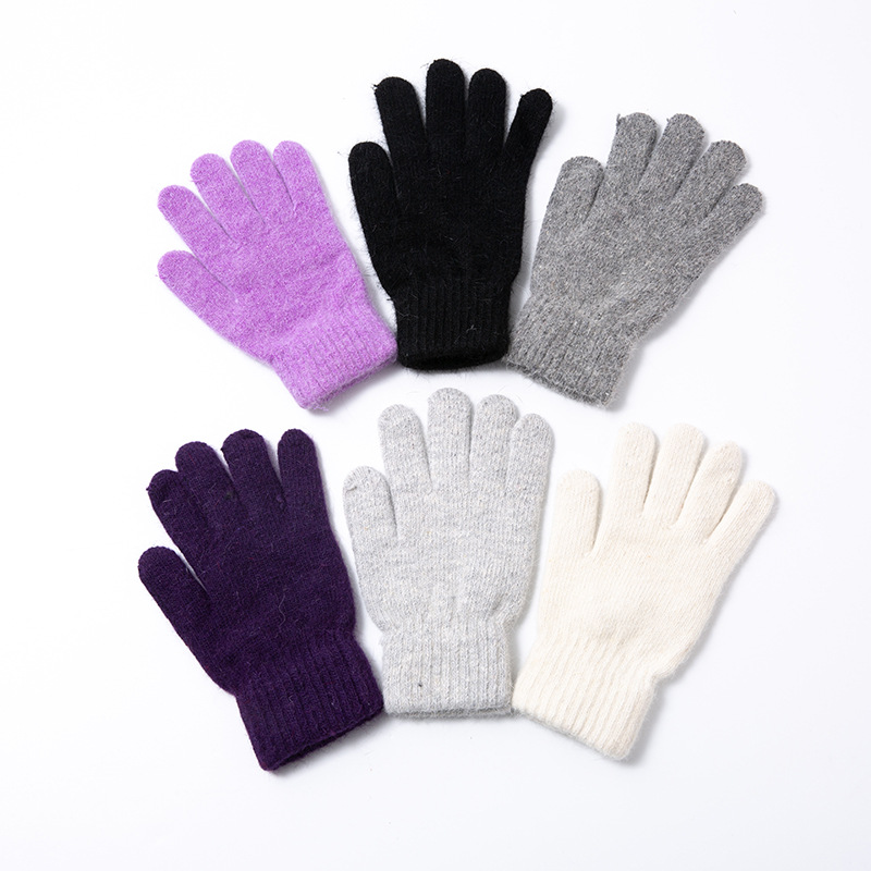 Rabbit Fur Five-finger Gloves Autumn And Winter Warmth Thickening Stretch Knit Magic Gloves Mens Womens Points Finger Gloves