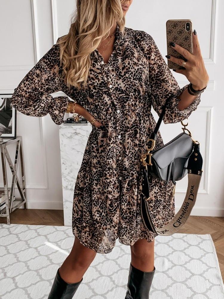 Vintage Dress Chiffon-Shirt Women's Clothes Front-Button Daily Southpire Leopard-Print