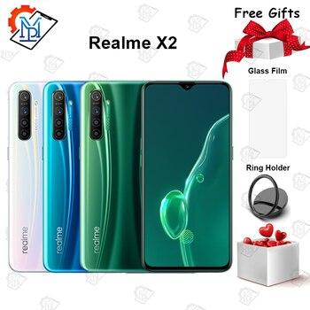 Перейти на Алиэкспресс и купить Realme X2 мобильный телефон с 6,4-дюймовым дисплеем, процессором Snapdragon 730, ОЗУ 6 ГБ, ПЗУ 64 ГБ