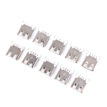 5/1 Pcs USB 2.0 Type A Female Vertical Socket Connector 180 Degrees 4 Pin Plug Jack Connectors 13mm 30V image
