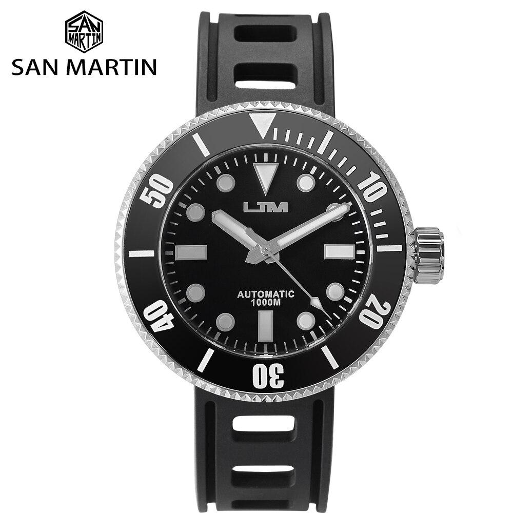 San Martin Solar Stainless Steel Diving Quartz Men's Watch Sapphire Rotating Bezel Black 1000m Water Resistant