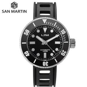 Image 1 - San Martin güneş paslanmaz çelik dalış kuvars erkek saati safir dönen çerçeve siyah 1000m su geçirmez