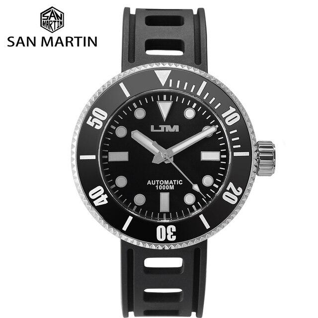 San Martin güneş paslanmaz çelik dalış kuvars erkek saati safir dönen çerçeve siyah 1000m su geçirmez