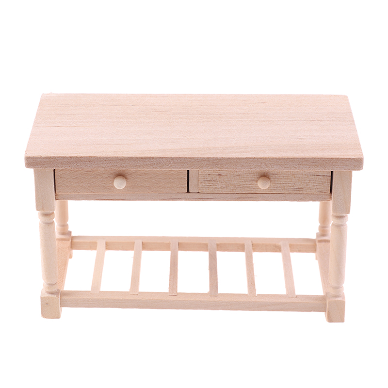 <font><b>1</b></font>:<font><b>12</b></font> Dollhouse Miniature Unpainted Wood Table With Drawers Doll House Furniture Toys Accessories image