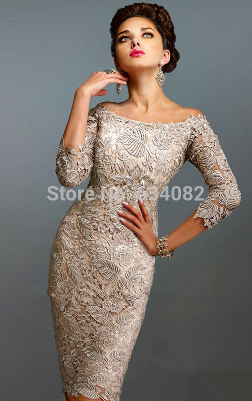 Vintage Sexy  Mother Of The Bride Lace Dresses Sleeves Knee-length 3/4 Sleeves Exquisite Hollow Out Lace Guest Formal Dresses