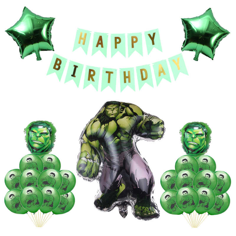 Hulk Foil Balloon Super Hero Theme Birthday Party Spiderman Captain America Green Ballons Decorations Baby Boys Kids Toys Globos