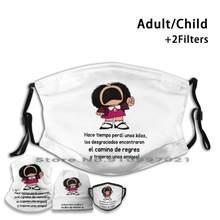 Hace Tiempo Perdí Unos Kilos. Los Desgraciados. Mascarilla reutilizable con filtros para niños y adultos, Mafalda Quino Mafalda