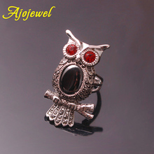 Ajojewel Big Exaggerated Ring Ring Owl Crystal Rhinestone Animal Jewelry For Women Bague Bijoux graceful rhinestone faux crystal ring for women