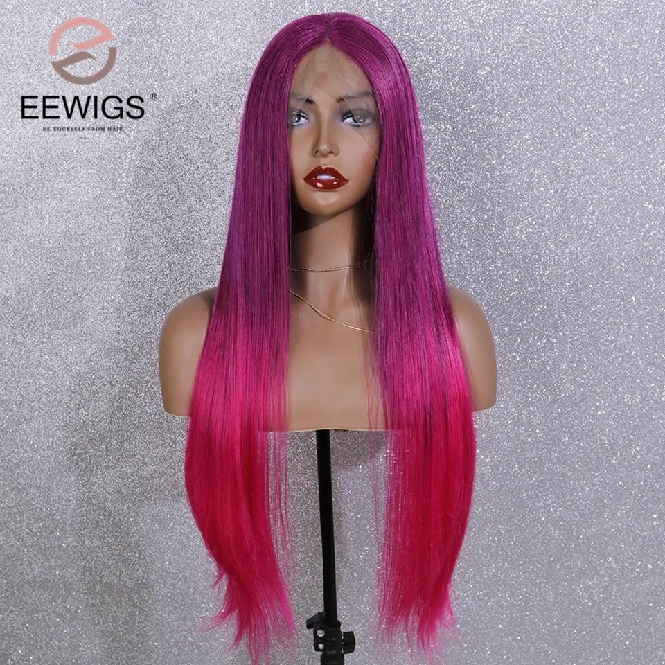 EEWIGS púrpura Rosa caliente peluca Ombre sintético recto peluca con malla frontal con cabello Natural resistente al calor pelucas para mujeres negras