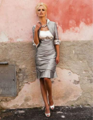 Gray Mother Of The Bride Dresses Sheath Taffeta Beaded With Jacket Plus Size Short Groom Mother Dresses For Wedding