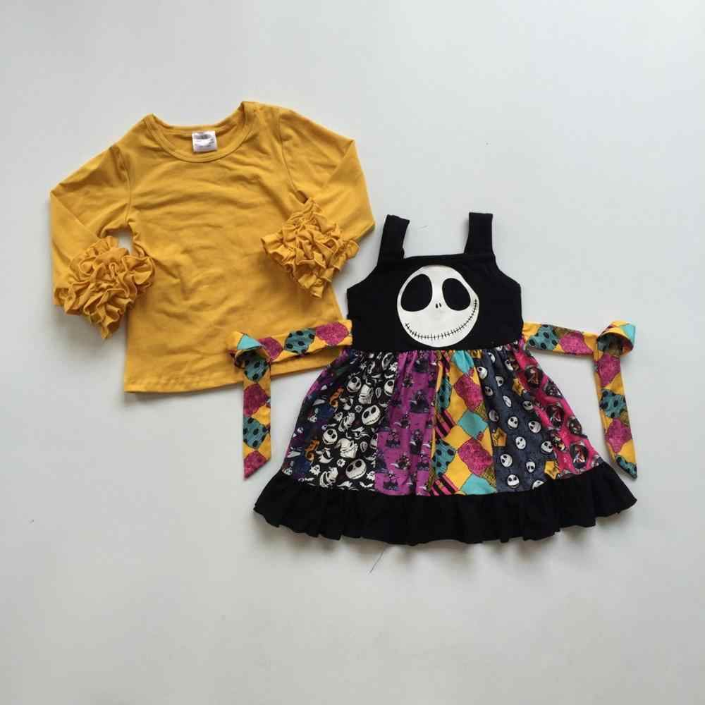 Halloween Mùa Thu/Mùa Đông cho bé gái ma in hình đầu sọ mù tạt đầu dây Đầm trẻ em quần áo lụa sữa xù đầu gối chiều dài