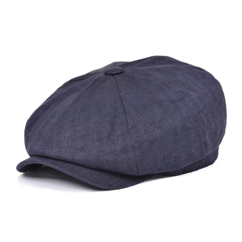 BOTVELA Newsboy Cap For Men Women Herringbone Linen Bakerboy Caps Lightweight Breathable Flat Hat Apple Beret Hats 007