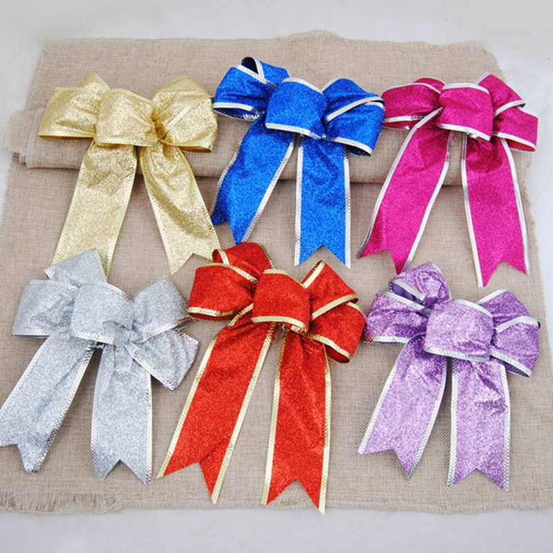 5 Colors Bows Bowknot Christmas Tree Party Gift Present Xmas Decorations DIY Ornaments Christmas Tree Bows Christmas Decorations