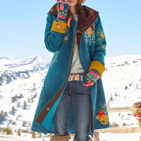 Women Retro Print Jacket autumn Winter Warm Cape Shawl Coat fashion elegant embroidery floral pattern Outerwear long coat tops