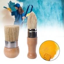2Pcs/Set Round and Pointed Chalk Paint Wax Brush Ergonomic Wood Handle Natural Bristle Brushes Furniture DIY Painting Tool 449C