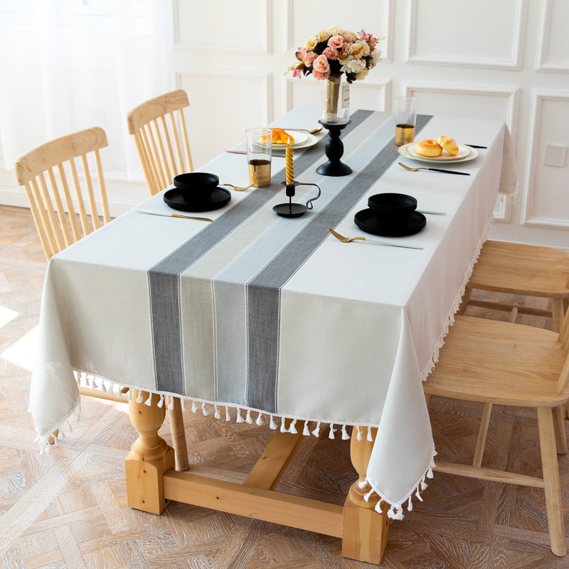 Modern Minimalistic Fabric Striped Table Cloth Party Party Splicing Stream Su Cotton Linen Dust Meal Table Pad Decorative Table
