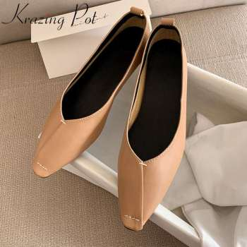 2020 superstar soft genuine leather slip on comfortable ballet flats square toe shallow driving dance  women spring shoes L73