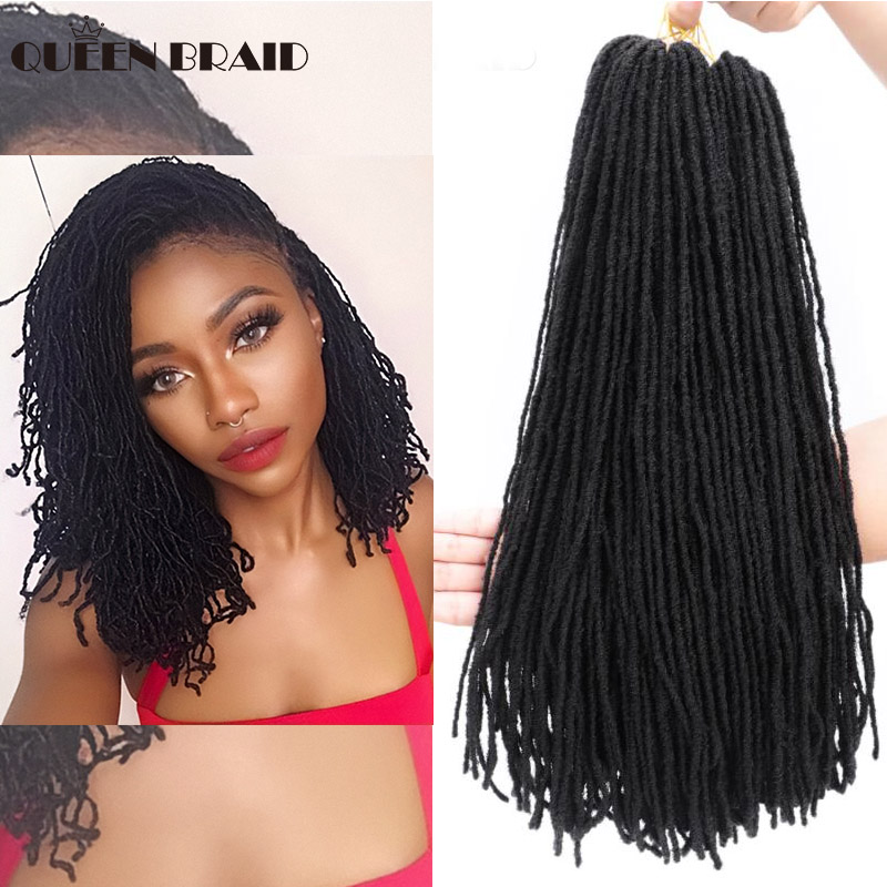 Deadlocks Sister Locks Afro Crochet Braids Ombre Color 18 Inch Brown Bug Synthetic Hair For Women Faux Locs Crochet Hair