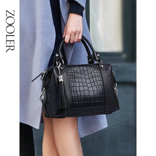 ZOOLER Genuine Leather Luxury Handbags Women Bags Designer Large Capacity Female Messenger Bag totally Black Shoulder Bag#CK209