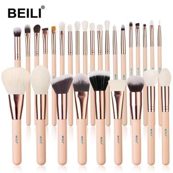 BEILI Matte Pink Makeup Brushes Set goat hair Powder Foundation Concealer Blush Eyeshadow rose gold natural hair Make up brushes 6