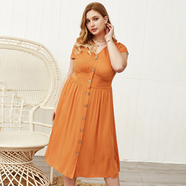 Lovely plus size button down open sleeve dress 1