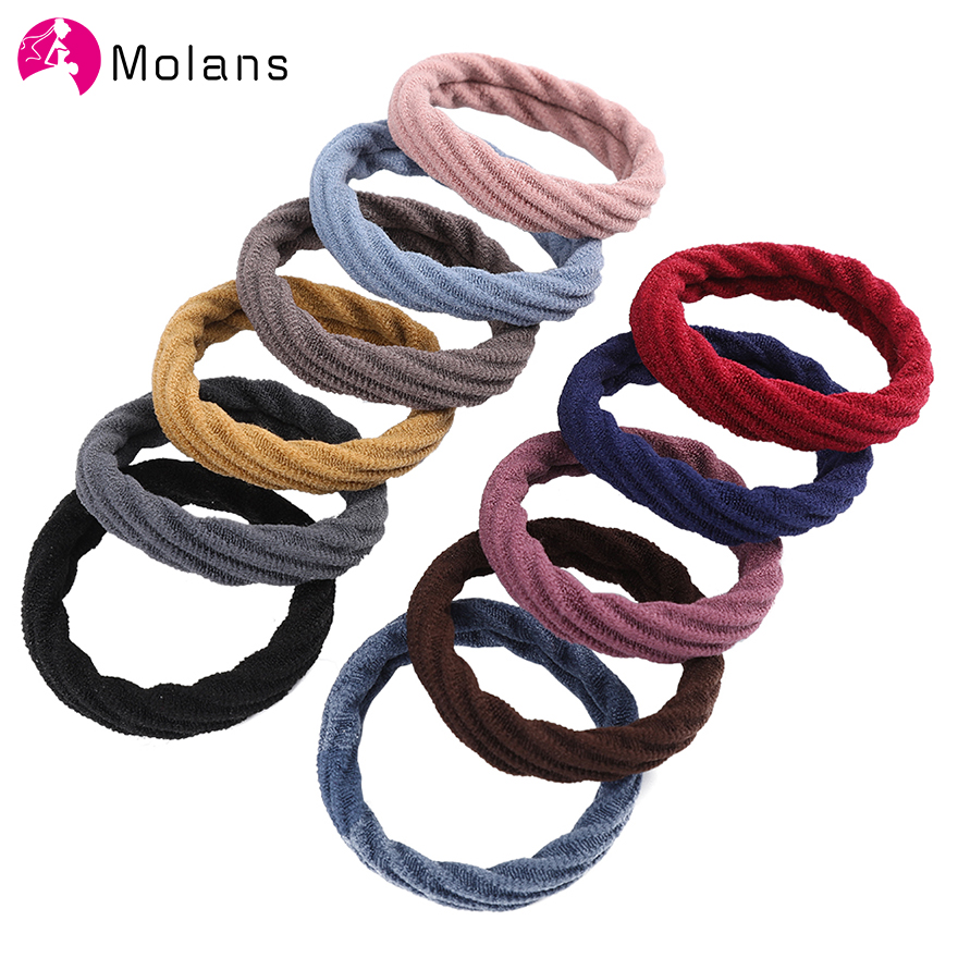 10PCS/Set Girls Sweet Basic Crude Elastic Hair Band Headband Ponytail Holder Rubber Bands Scrunchies Fashion Hair Accessories