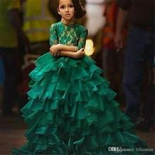 Emerald Green Girl's Pageant Dresses For Teens Princess Flower Girl Dresses Birthday Party Dress Ball Gown 2018 pink flower girls dresses spaghetti straps ball gown ruffles organza pageant dress for girls long girl dresses for wedding