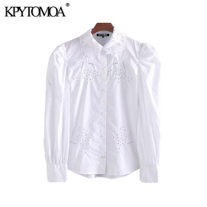 KPYTOMOA Women Fashion Cutwork Embroidery Button-up Blouses Vintage Lapel Collar Long Puff Sleeve Female Shirts Blusas Chic Tops
