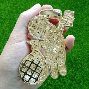 Image 4 - Tamanho grande de alta qualidade de bronze cz pedras dos desenhos animados dinheiro colar pingente hip hop jóias bling gelado cn044b