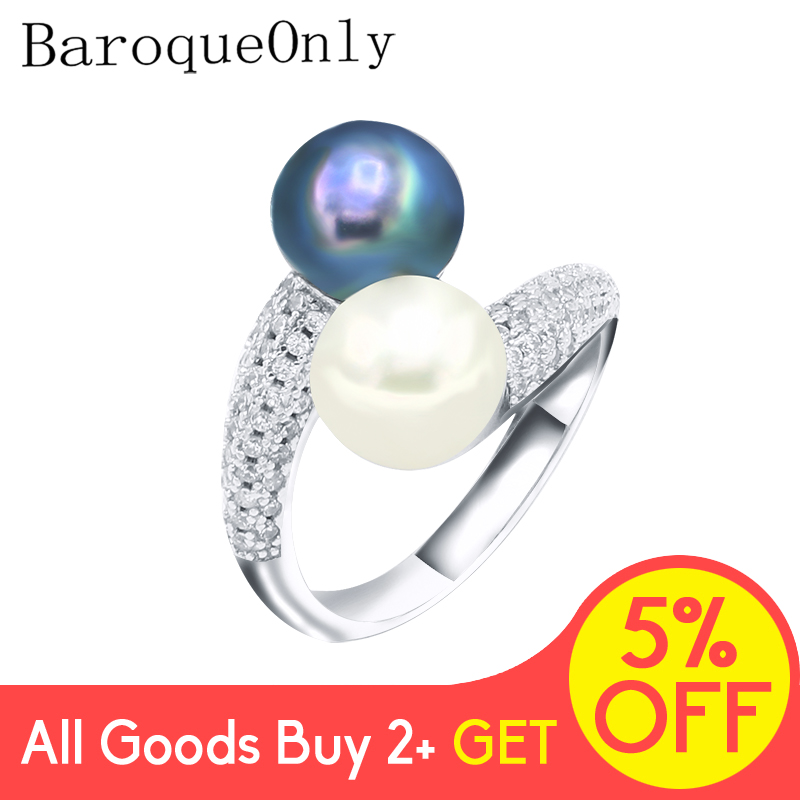 BaroqueOnly Natural Freshwater Pearl Jewelry 925 Sterling Silver TWO PEARL Rings For Women High Guality Zircon Wedding Gift