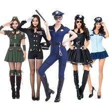 Umorden dia das bruxas purim adulto sexy trajes de festa mulher policial traje uniforme macacão para mulher