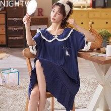 NIGHTWA Summer Cute Women Sleepwear M-4XL Nightgowns Home Wear Girls Sleep Lounge Nightgrowns Dress Home Clothing