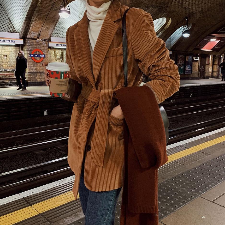 Vintage Women  Corduroy Lace Up Blazer Dress 2020 Spring Slim  Office Belt Jacket Feminino Outerwear