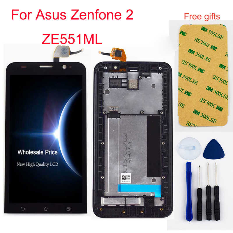For Asus Zenfone 2 ZE551ML LCD Touch Z00A Z00AD LCD Screen Z00ADB LCD Display Panel Touch Screen Digitizer Sensor Assembly Frame