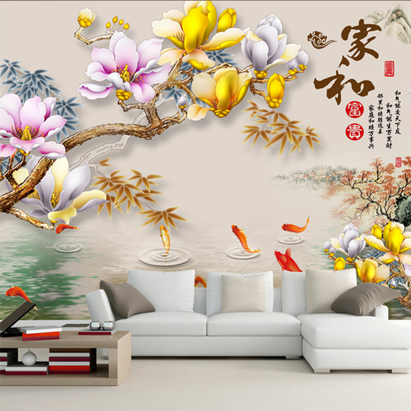 Chinese Style 3D TV Background Wallpaper Living Room Sofa Bedside Film And Television Wall Cloth And Rich Nine Fish Figure