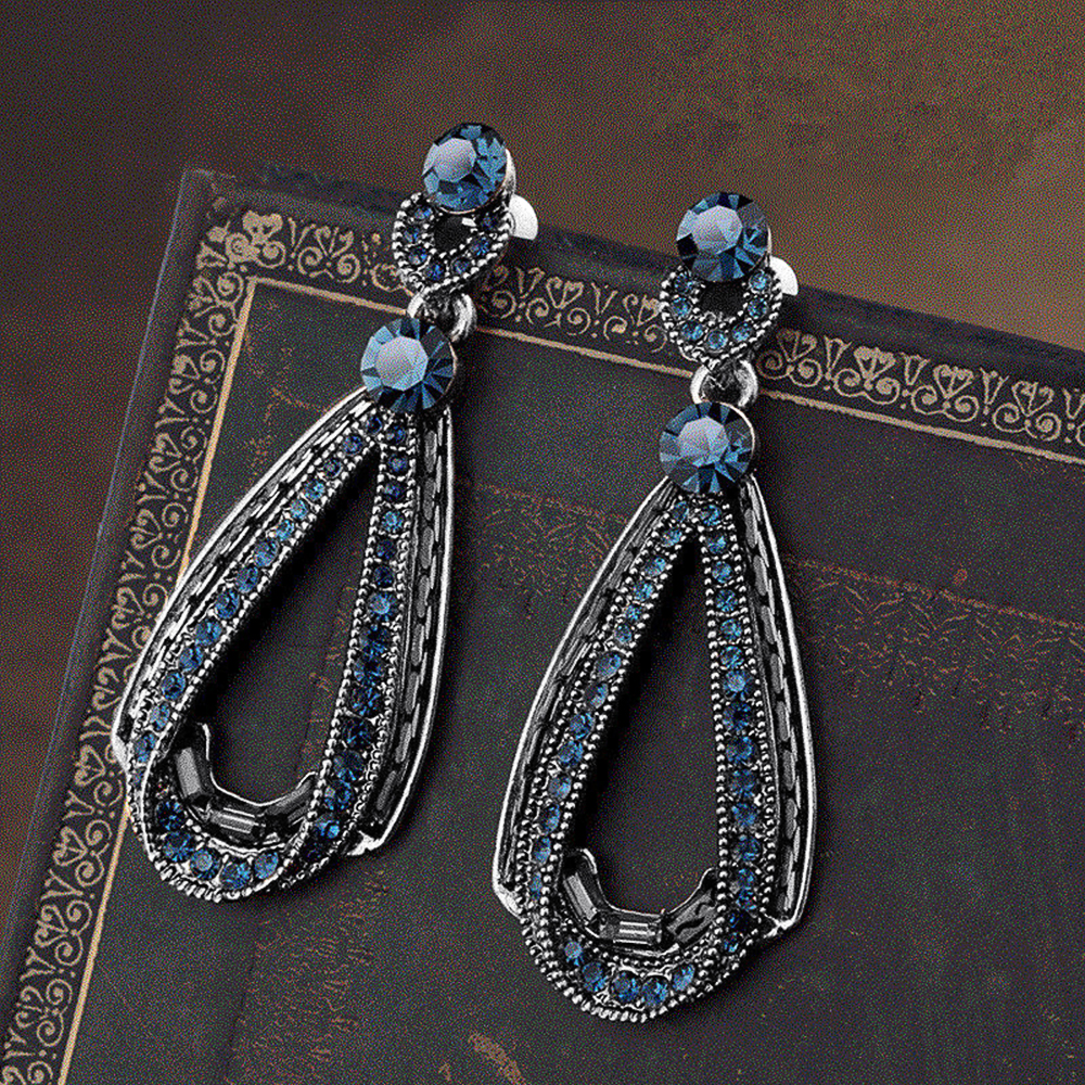 Huitan Vintage Antique Silver Color with Blue Stone Pear Drop Earring Women Retro Party Ethnic Style Accessories Female Earrings