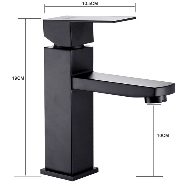 XUNSHINI Black Square  Bathroom Sink Faucet Single Handle Basin Faucet Wash Tap Bathroom Toilet Deck Mounted Basin Tap 5