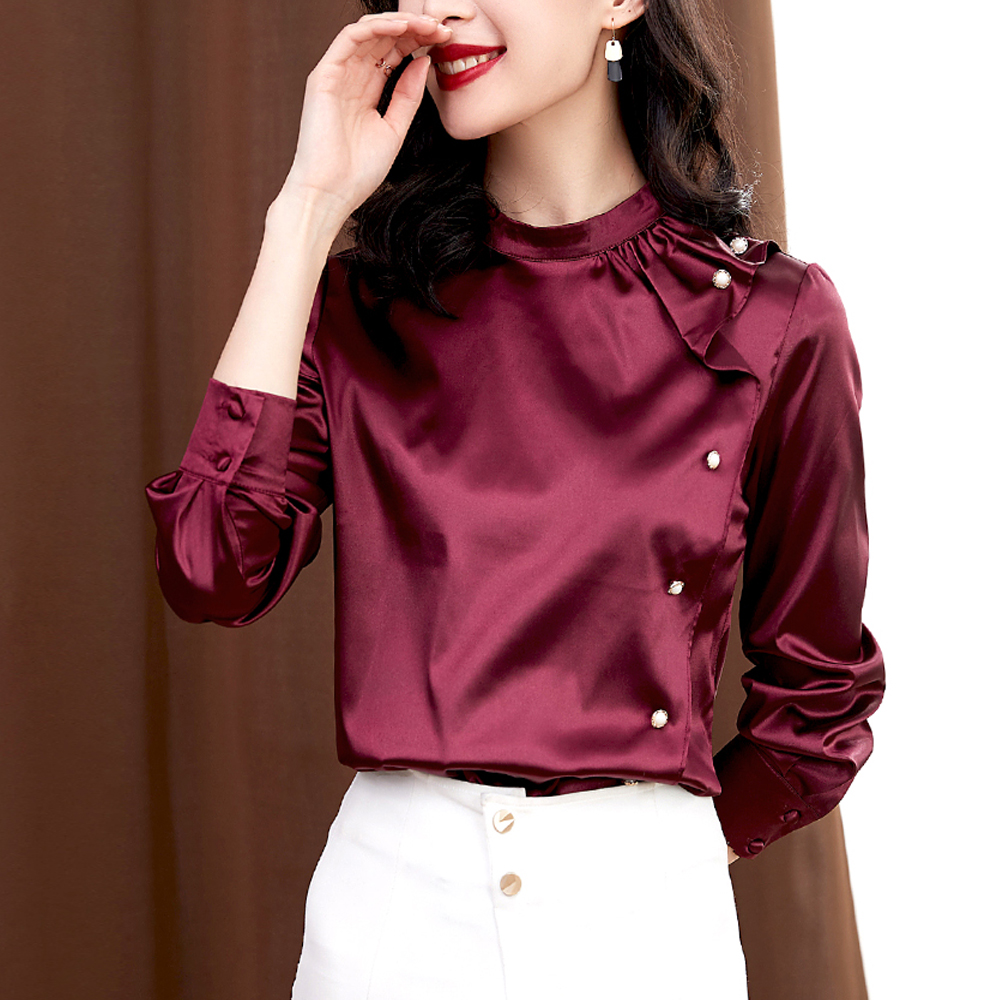 Brand Fashion Blusas Tops Women Long Sleeve Ruffles Satin Blouse Office Ladies OL Blouses Female Casual Clothing Elegant Shirts