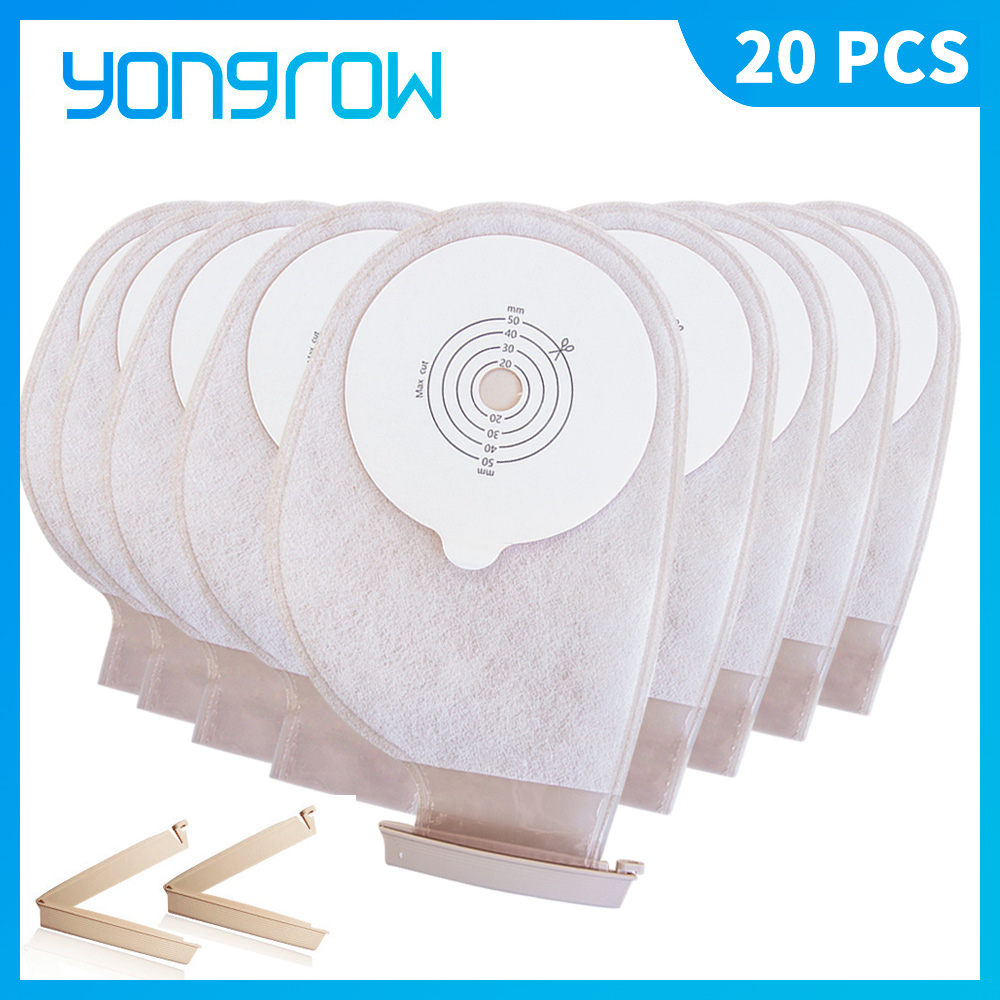 Yongrow 20 PCS One-piece System Ostomy Bag Drainable Colostomy Bag Pouch Ostomy Stoma Cut Size Beige Cover Urine Bag
